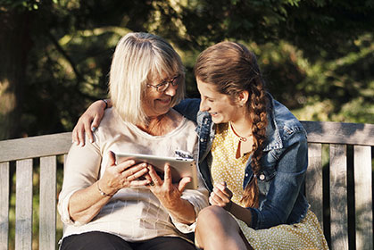 grandmother with grandaughter - hearing wellbeing